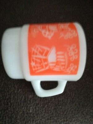 Fire King Coffee Anchor Hocking Mug ANTIQUE BIKE STOVE CHAIR ORANGE Stacking Cup