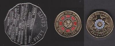 Australia UNC Coin 2019 50c Indigenous $2 Repatriation & $2 Police Remembrance