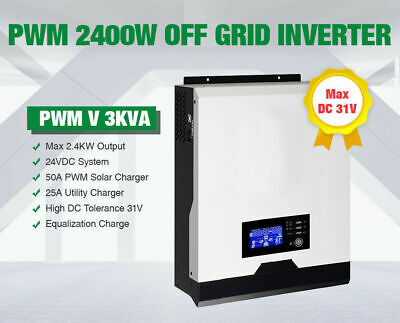 HSE1 3Kva 2400w 24v 230vac Solar inverter 50A solar charger 25A charger