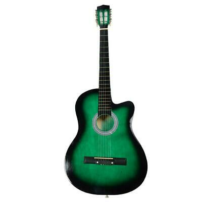 """38"""" Electric Acoustic Guitar Cutaway Design With Guitar Case Strap Tuner Green"""