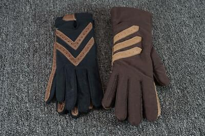 Two Pairs Of Women's Long Gloves Small Black & Brown