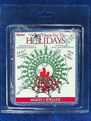 Bead Kit Christmas Wreath Large Ornament 29cm Red & Green Candles Bells