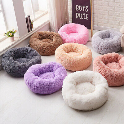 Pet Dog Cat Cozy Fluffy Round Nest Warm Soft Plush Calming Mat Sleeping Bed New