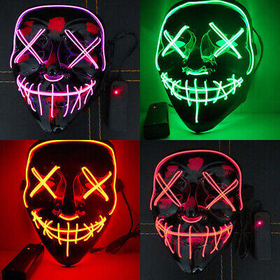 """Light Up Costume Mask """"Stitches"""" LED Scary Mask Halloween Rave Cosplay The Purge"""