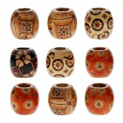 100pcs Mixed BOHO Large Hole Wooden Beads for Macrame European Charms DIY Crafts