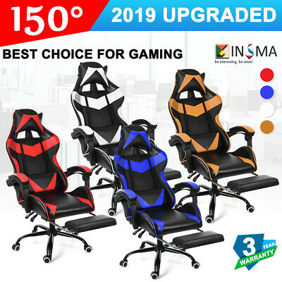 PU Leather Gaming Chair Office Racing Ergonomic Recliner Seat with Footrest