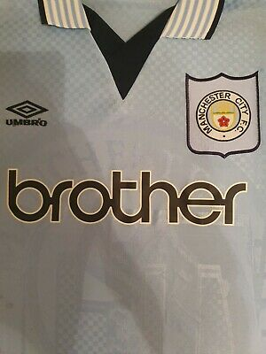 MANCHESTER CITY 95 Home Brother Football Shirt Large