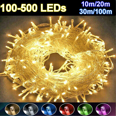 10-100M LED Outdoor Fairy String Lights Waterproof Indoor Party Decor UK Plug In
