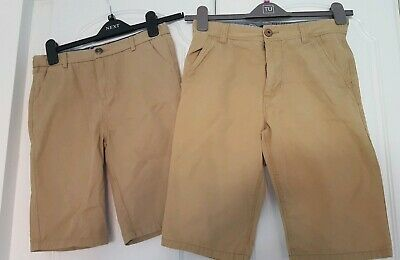 2 pairs Boys shorts 11/12 years NEXT and River Island. Adjustable waist brown