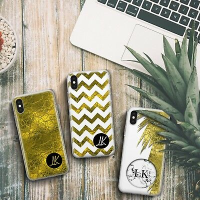 Personalised Gold Grey Marble Foil Effect Custom Name Gel Phone Case For Iphone