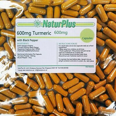 Turmeric and Black Pepper Capsules 600mg Natural Tumeric NOT Tablets 90 180 360