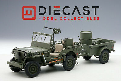 AUTOart 74016 Jeep Willys Army Green w/Trailer/Accessories Included 1:18TH Scale