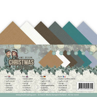 Leinenkartonpack -  DIN A5 - Amy Design - Christmas Wishes  – 250gr -