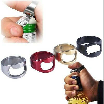 Stainless Steel Finger Ring Bottle Opener Beer Bar Tool Metal Corkscrew 1PC