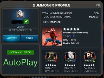 Marvel Contest Of Champions Ghost, Starky, Cap, Iceman Cavalier Account! Mcoc