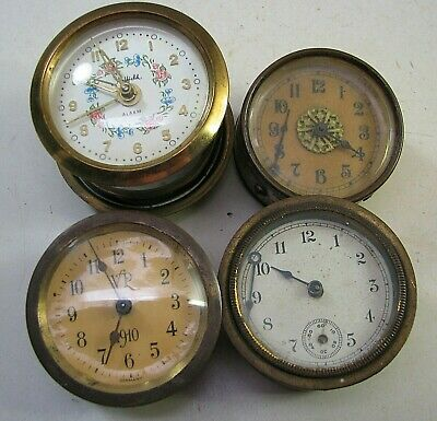 Lot Of 4 Antique Small Figural Clock Movements Parts Repair