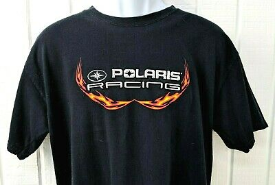Polaris Racing Flame and Silver Puffy Graphic T Shirt - Large - RARE Offroad Tee