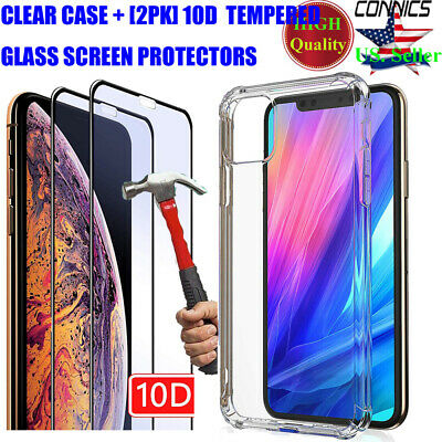 For Apple iPhone 11/11 Pro Max Ultra-thin Slim Clear Case Cover+Screen Protector