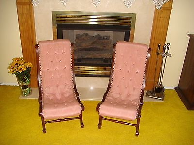 "Antique Victorian Empire Style Wood Slipper ""Accent"" Chairs - Local Pick-Up Only"