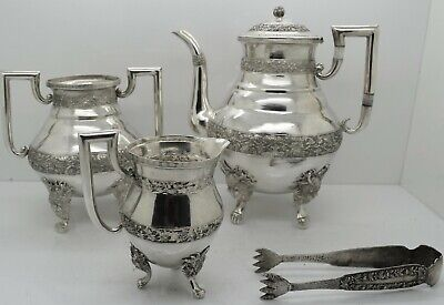 Chinese Export Silver 4 PIECE TEA SERVICE. FIERCE DRAGON FEET, FLORAL c.1900