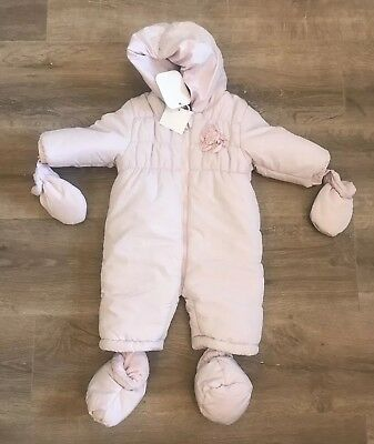 BNWT Baby Girl Pink Babaluno Snowsuit age 3-6 mths, Practical & Easy To Put On