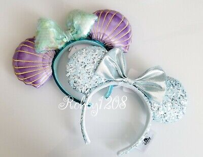 Disney Parks Mermaid Frozen Arendelle Aqua Minnie Mouse Ears Sequin Headband SET