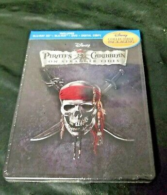 Pirates Of The Caribbean On Stranger Tides Disney -Steelbook-Blu-ray-SEALED