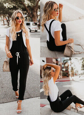 Women Ripped Denim Jeans Bib Pants Jumpsuit Ladies Suspender Overalls Dungarees
