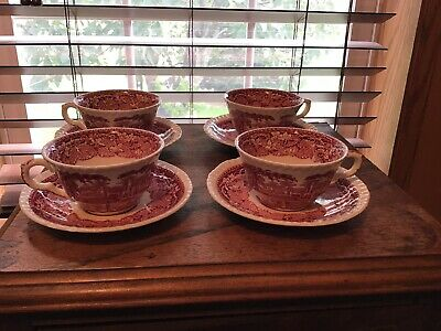 4  Vintage Masons Pink Vista Cups And Saucers