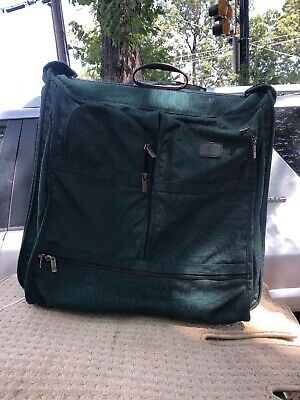 Vintage TUMI Green Rolling Garment Bag  Ballistic Nylon 2-Wheels 21 inches Used