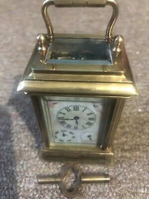 Rare Antique  Brass Miniature  Porcelain Panel Carriage Clock With Serves Style