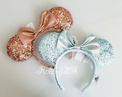 Disney Parks Rose Gold Minnie Ears & Frozen Arendelle Aqua Minnie Ear Headband