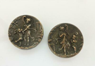 Pair 19thc Antique Victorian Lady & Child Bachelor Buttons Lapel Studs c1870's