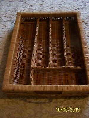 Wicker Cutlery Drawer With Handle Tray Top Quality Rustic Bistro Cafe