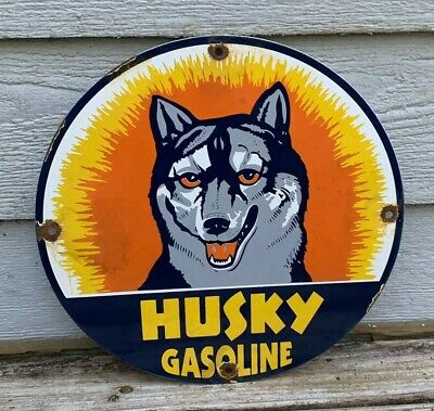 Vintage Husky Porcelain Enamel Sign 11 3/4 Gas Oil Pump Plate
