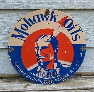 Vintage Mohawk Gasoline Porcelain Sign Gas Service Station Pump Plate Motor Oil