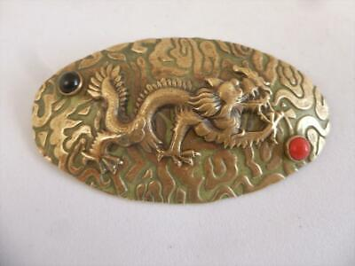 Quality Antique Art Deco Cabochon Chinese Dragon Brooch c1920/30's