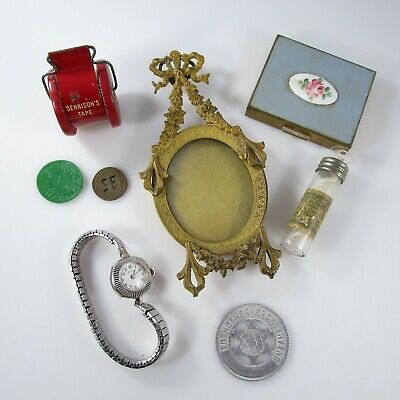 Jewelry & Junk Drawer Lot of 8 Tokens Bulova Wristwatch Makeup Compact Pendant