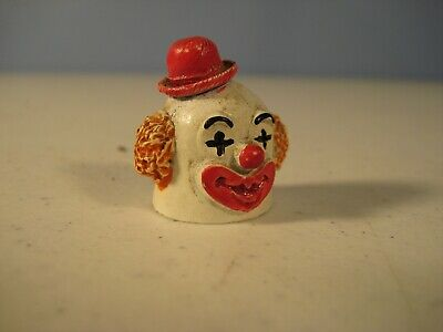 Clown Thimble Spoontiques with Red Hat - Painted Pewter