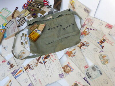 WW2 US Army GI American.Red Cross HBT DITTY BAG w/ ETO Personal Effects CONTENTS