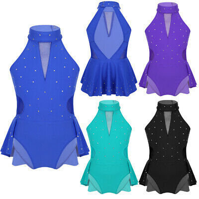 Kids Girls Lyrical Dress Ballet Dance Leotards Gymnastics Contemporary Costume