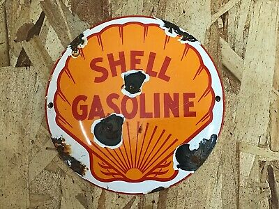 "Vintage Shell Gasoline Clam Porcelain Enamel Sign 6"" Gas Oil Pump Plate Petrol"