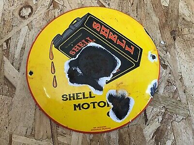 "Vintage Shell Gasoline Porcelain Enamel Sign 6"" Topper Gas Oil Pump Plate Rare"