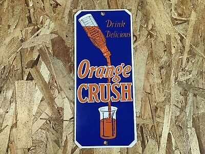 Vintage Orange Crush Soda Pop Porcelain Enamel Sign 10 X 4 3/4 General Store Nos