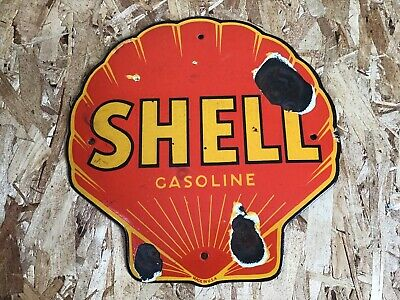 "Vintage Shell Gasoline Clam Shell Die Cut Porcelain Enamel Sign 12"" Ga Soil Rare"