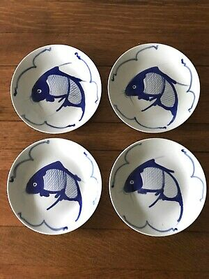 "Set of Four Vintage Blue Handpainted China Koi Fish Curved Plates (7""-7.25"")"