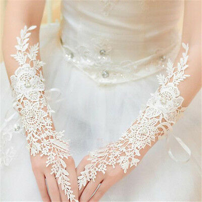 New White/Ivory Lace Long Fingerless Wedding Accessory Bridal Party Gloves L_D
