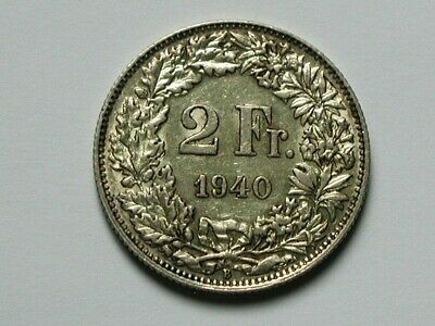 Switzerland 1940B 2 FRANCS Silver Swiss Coin EF+ with Toned-Lustre