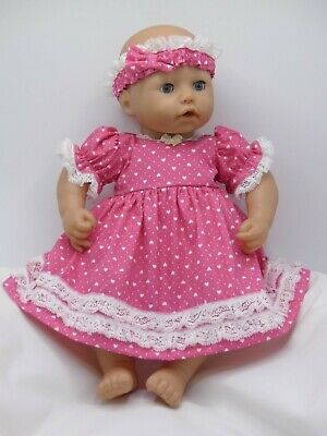Pink & White dolls dress, headband & knickers to fit 18in baby doll baby Annabel