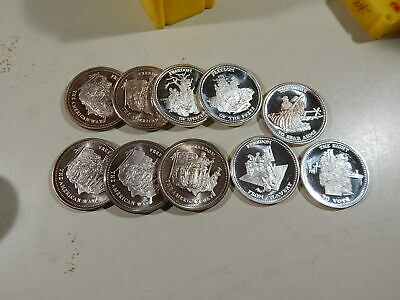 10 early JM Johnson Matthey 1oz .999 silver rounds 1986 American Freedom 10 oz